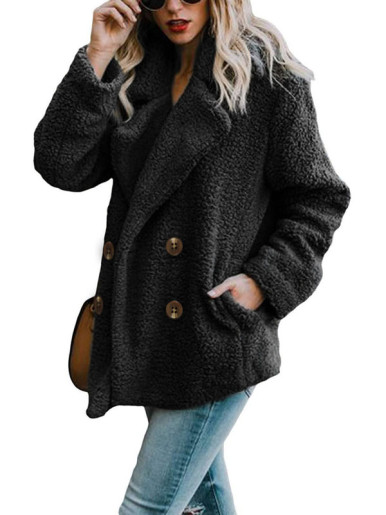 OneBling Plus Size Double Breasted Faux Fur Coat with Pockets
