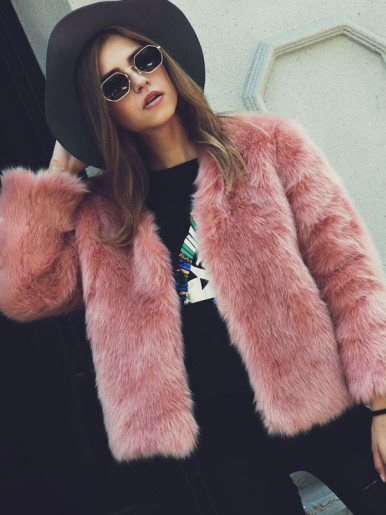OneBling Plus Size Solid Color Fluffy Faux Fur Jacket