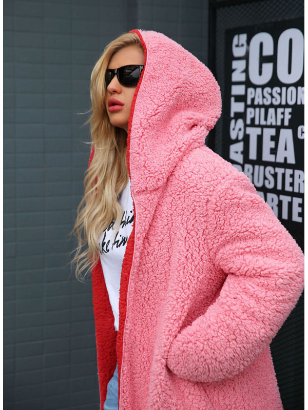 Us 74 Onebling Plus Size Hooded Longline Faux Fur