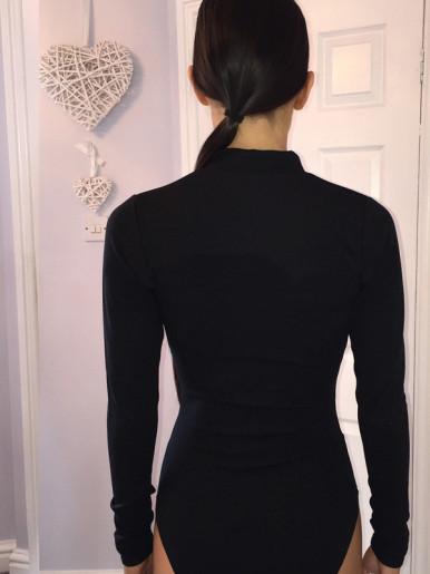 OneBling Hooks Front Long Sleeve Bodysuit In Black