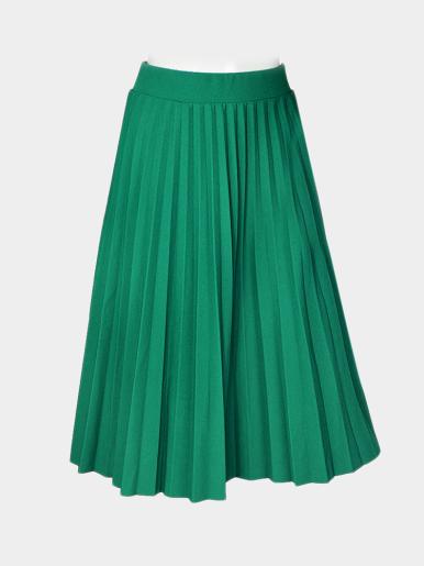 OneBling Elastic High Waist Pleated Midi Skirt