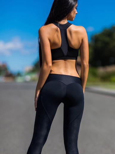 OneBling Contrast Black Stretch Leggings