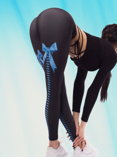OneBling Ribbon Bow Lace-Up Leggings