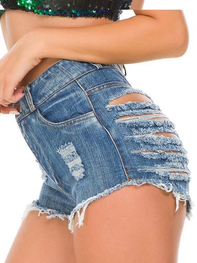 High Waist Denim Shorts with Heavy Rips