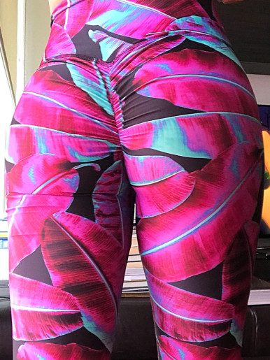 OneBling Ruched Detail Leggings In Bright Tropical Palm Print