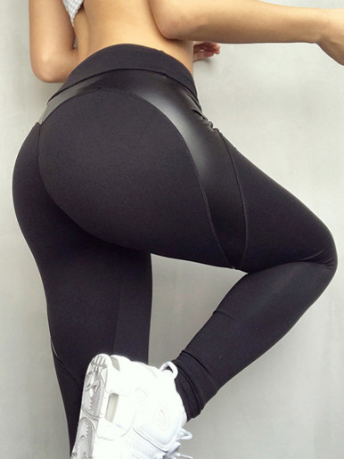 OneBling Heart Shape PU Detail Leggings