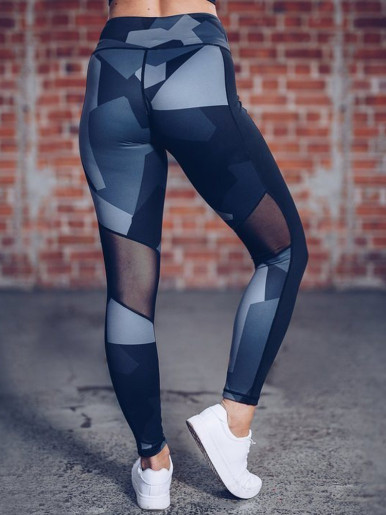 OneBling Geo Print Contrast Side Leggings with Mesh Insert
