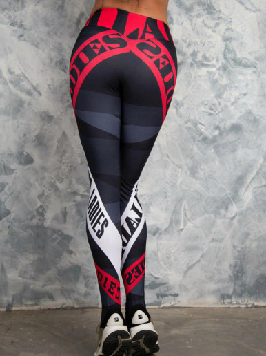 OneBling Colour Block Skinny Leggings In Letter Print
