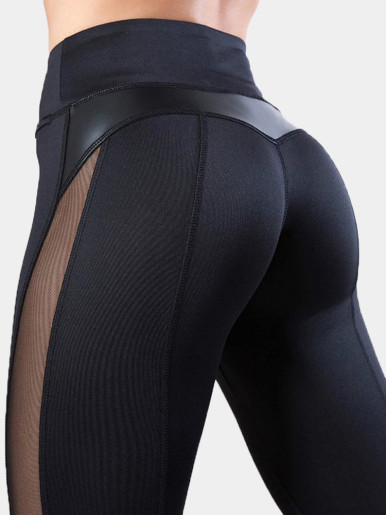 OneBling Mesh Side PU Detail Skinny Leggings