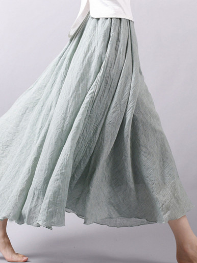 OneBling 85cm / 95 cm Cotton Linen Swing Maxi Skirt