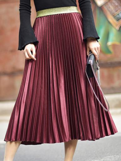 OneBling Metallic Velvet Pleated Maxi Skirt with Contrast Waist