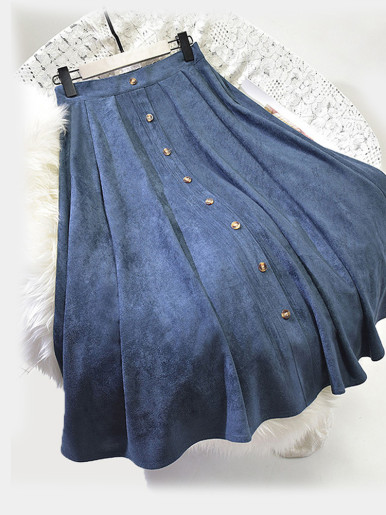 OneBling Faux Suede Midi Skirt with Button Detail
