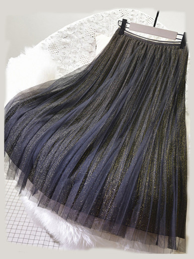 OneBling Sheer Mesh Overlay Glitter Pleated Skirt with Contrast Trim
