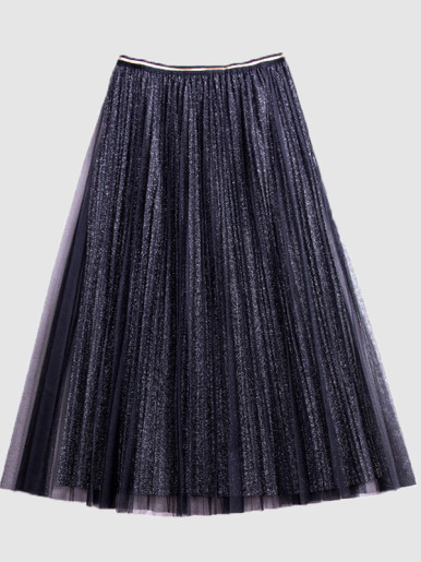 OneBling Glitter Knit Pleated Midi Skirt with Mesh Layer and Piping