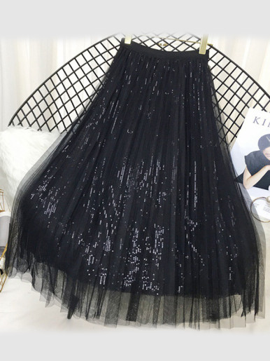 OneBling Mesh Overlay Sequins Pleated Maxi Skirt