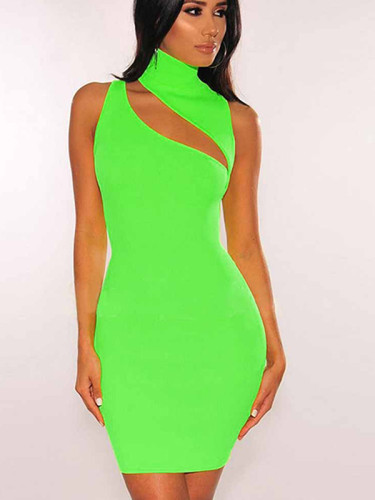 OneBling Neon Green Mini Dress with Turtle Neck and Cut Out Detail