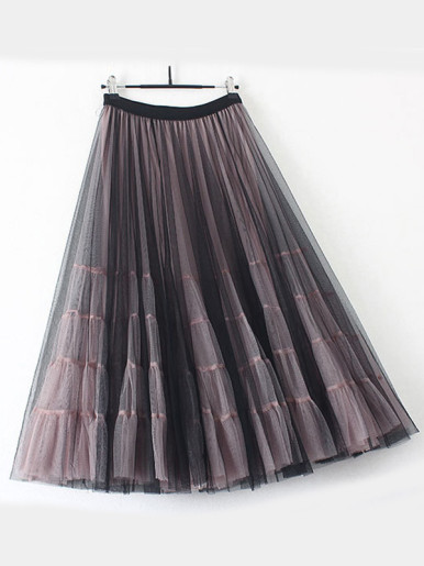 OneBling Two Layer Mesh Pleated Maxi Skirt with Tiered