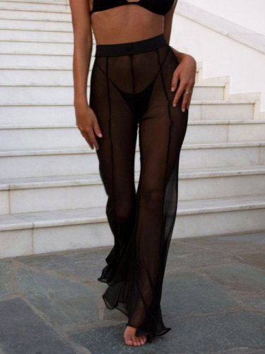 OneBling Sheer Mesh High Waist Beach Pants with Flare Hem