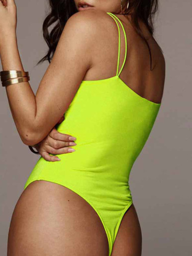 OneBling Solid Color Strappy Bodysuit