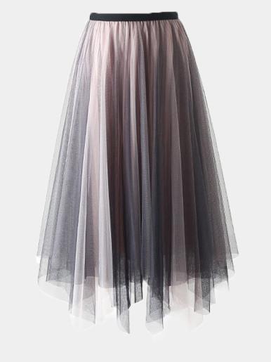 Mesh Midi Pleated Skirt with Asymmetric Hem