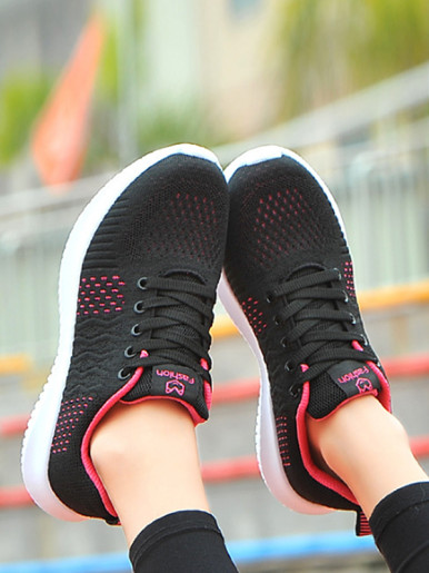 OneBling Mixed Color Summer Knitting Breathable Women Casual Shoes 2019 Non-Slip Lace Up Lightweight Flat Walking Shoe Sneakers