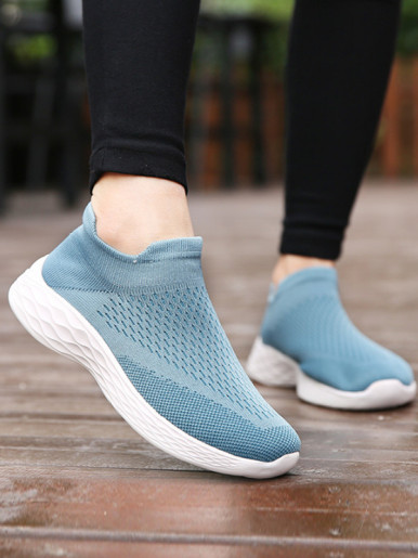 OneBling Summer Breathable Soft Stretch Knit Sock Shoes for Women 2019 Platform Slip On Sneakers Casual Walking Shoes