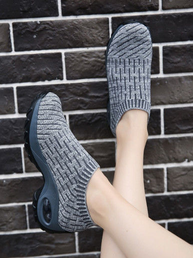 OneBling Spring Autumn Fly Knit Stretch Sock Shoe 2019 Increase Height Platform Air Cushion Shoes Slip On Sneakers