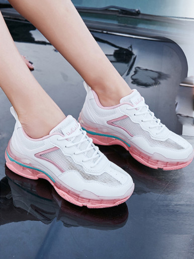 OneBling Summer Breathable Mesh Patchwork Platform Flat Shoes 2019 Lace Up Women Sneakers Heighten Casual Walking Shoes