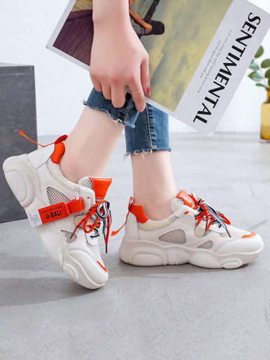 Microfiber Leather and Breathable Mesh Patchwork Lace Up Women Sneaker 2019 Increase Height Flat Shoes
