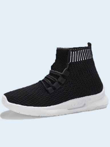 OneBling White Black Spring Autumn Breathable Slip On High Top Women Casual Shoes 2019 Stretch Knit Sock Sneakers Soft Walking