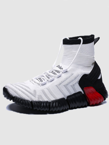 OneBling 2019 Breathable Knit Upper Ankle Boots Chunky Sole Slip On Stretch Soft Men Sneaker Casual Flat Shoes