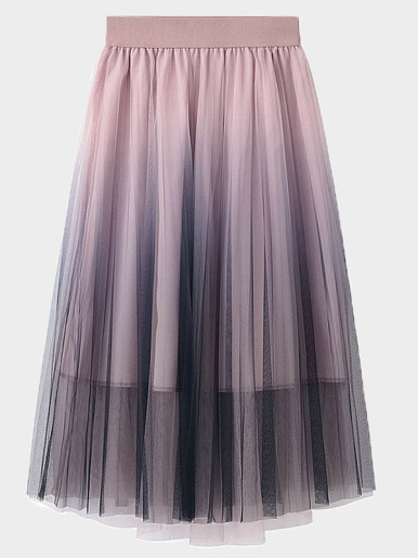 OneBling Ombre Mesh A-Line Skirt