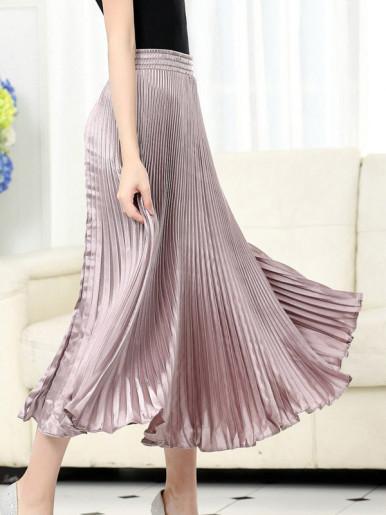 OneBling Elastic Waist Metallic Pleated Skirt