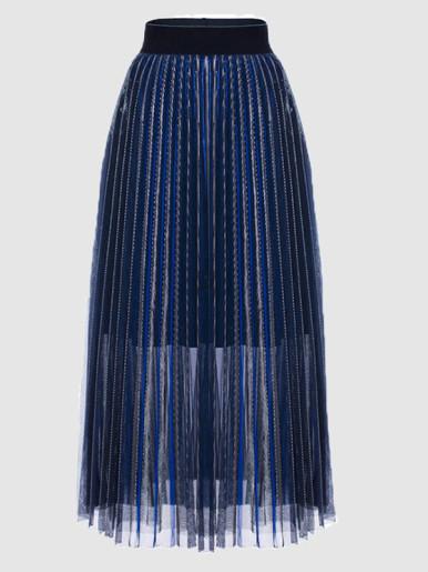 Glitter Knit Mesh Pleated Maxi Skirt