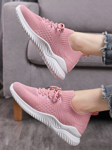 OneBling Knitted Platform Lightweight Slip On Trainers Women