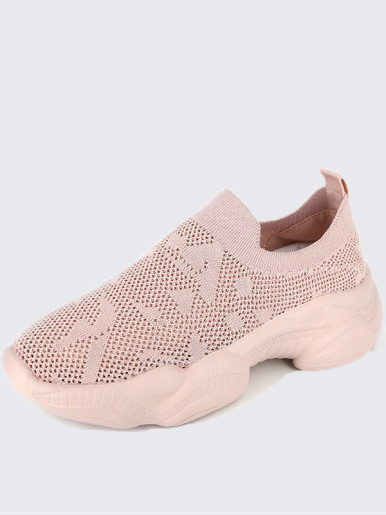 OneBling Knitted Platform Chunky Slip On Women Trainers In Pink / Black
