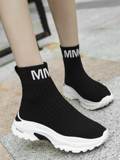 OneBling Women Sock Trainers In Black with Chunky Sole