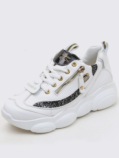 OneBling Women Lace Up Chunky Trainers with Zipper and Sequins Detail