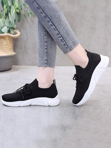 OneBling Chunky Platform Knitted Sock Trainers Women