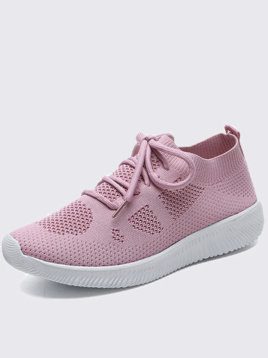 OneBling Plus Size Lightweight Platform Knitted Slip On Women Trainers