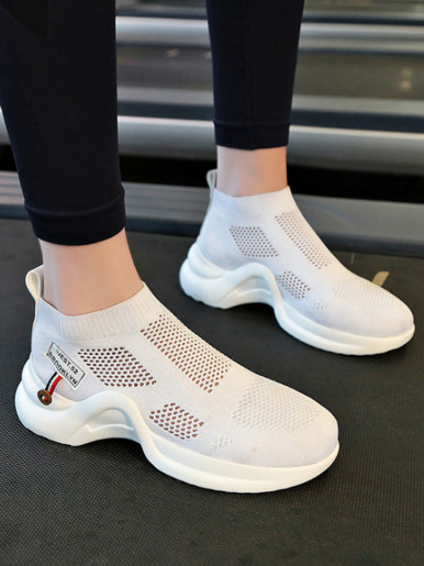 OneBling Chunky Sole Summer Sock Trainers In Black / White Women
