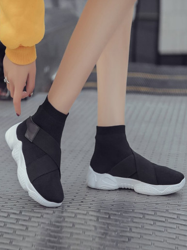 OneBling Sock Trainers In Black with Chunky Sole and Straps Women