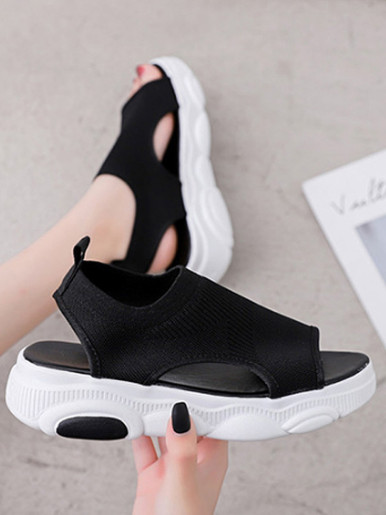 OneBling Slip On Knitted Chunky Sport Sandals Women