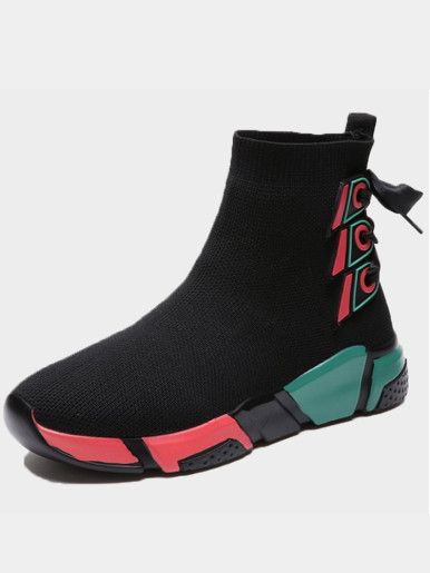 OneBling Colourblock Chunky Sole Knitted Ankle Boots with Tie Back Women