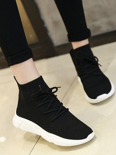 OneBling High Top Slip On Chunky Trainers with Tie Detail Women