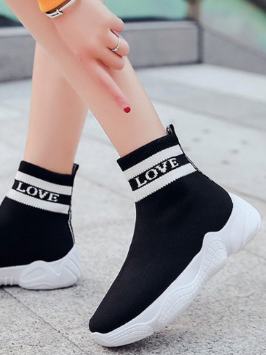 OneBling Black Striped Sock Chunky Ankle Boots Women