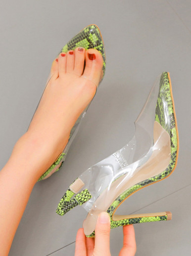 OneBling Plus Size Pointed Toe Clear Slingback High Heels