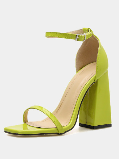 OneBling Square Toe Block Heeled Sandals