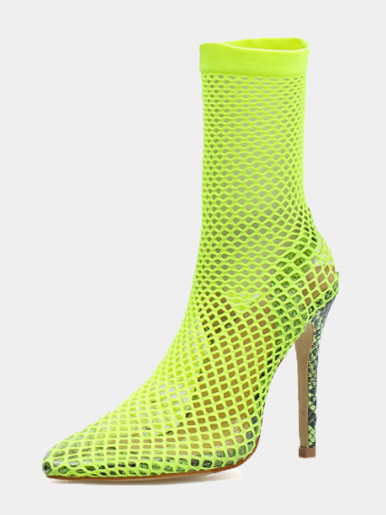 OneBling Plus Size Neon Green Pointed Toe Fishnet Heeled Ankle Boots /12cm