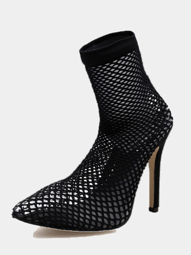 OneBling Plus Size Pointed Toe Black Fishnet Heeled Ankle Boots /11CM